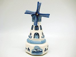 Windmill Music Box: Tulips From Amsterdam Music Box (Delft Music Box)