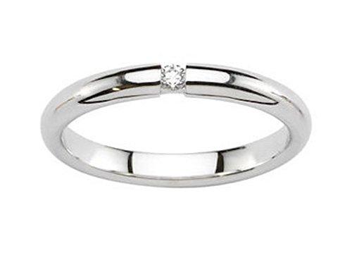 ARRIDA- www.diamants-perles.com - Alliance Jonc brillant et diamant - Mariage - Or Blanc 750/1000 - 18 carats - Largeur 3 mm
