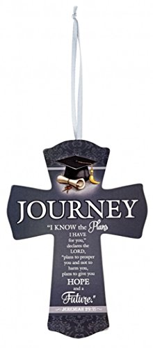 Wooden Graduation Journey Prayer Cross with Bible Verse, 6 Inch]()