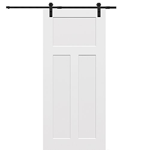 National Door Company Z009548 Solid Core Molded Craftsman 3-Panel Flat, Primed, 36'' x 80'', Barn Door Unit by National Door Company