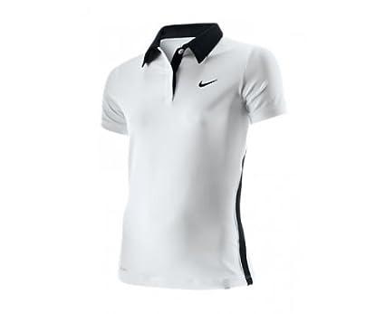 Nike Niños Polo Camisa Back Mano Border Blanco/Negro Talla:L / 152 ...