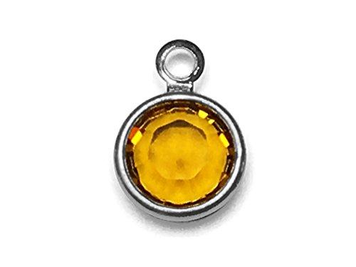 (20 pc Swarovski Birthstone Channel Charms Silver Plated - Choose Your Color - 4mm Stone CC4S Swarovski birthstones (Topaz - NOV))