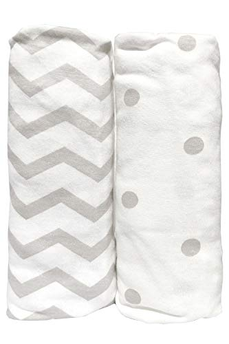 Cuddly Cubs Pack and Play Sheets Fitted | Compatible With Graco Pack n Play Fitted Sheet | 2 Pack Playard Sheets | Snug Fit Pack n Play Sheet Set | Grey Portable Mini Crib Sheets