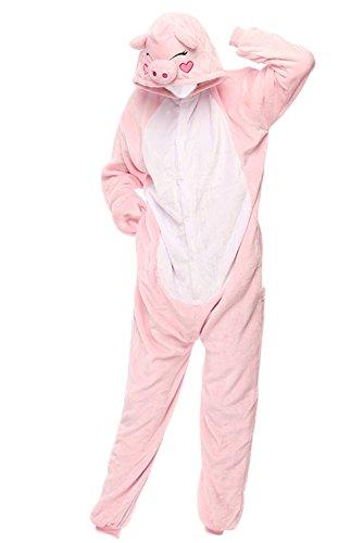 One Piece Pajamas Animal Costume Family Pajamas Onesie Sleepwear for Parent - Child Clothes (S, Pig) ()