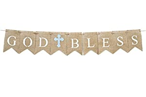 Communion Party Banner, Baptisim Christening Decoration, God Bless Banner Blue B086 by Swanky Party Box
