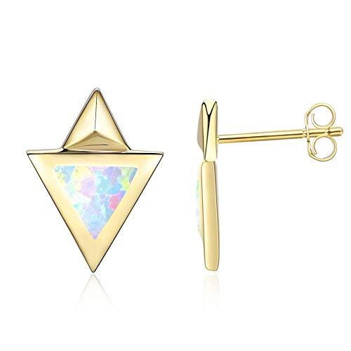 JUSTKIDSTOY Stud Earrings Opal Sterling Silver - Double Triangle 14K Gold Geometric Drop Dainty Earrings Stud Birthstone Stylish Lab Created for Women Teens