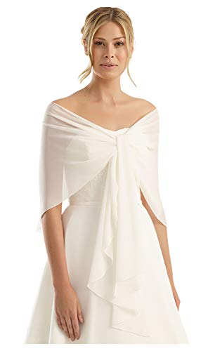 (Chiffon Bridal or Evening Circular Stole Shawl Wrap - Special Circular Shape Prevents Sliding Off - Perfect for Wedding Dress or Evening Prom Dress Ball Gown - IVORY)