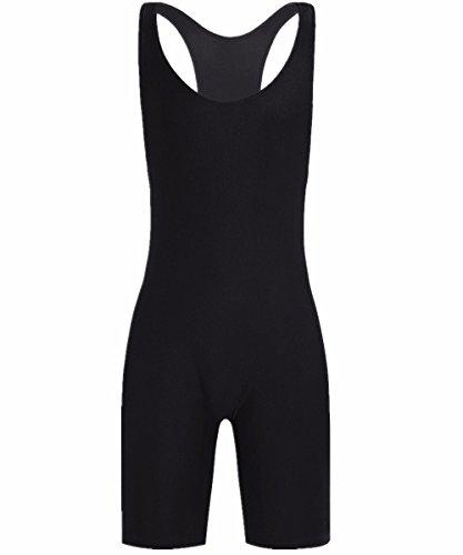 (iiniim Men's Solid Modified Lycra Wrestling Singlet Leotard Bodywear Uniform Black M)