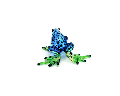(ChangThai Design Lampwork COLLECTIBLE MINIATURE HAND BLOWN Art GLASS Mini Blue Frog Black Dot, Size SS, Blue)