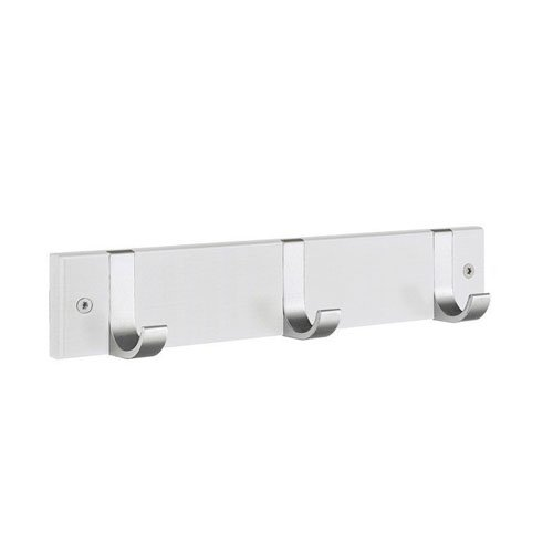 Smedbo BX1075 Triple Coat Rack, White Wood/Satin Aluminum
