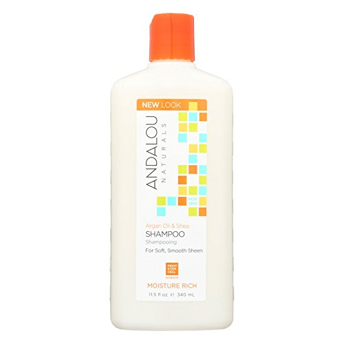 Andalou Naturals Argan Oil & Shea Moisture-Rich Shampoo, 11.5 oz, For Dry, Frizzy, Curly, Wavy Hair, Helps Smooth & De-Frizz Split Ends