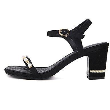 LvYuan comodidad sandalias del verano del vestido de la PU de tacón grueso perlas de imitación Black