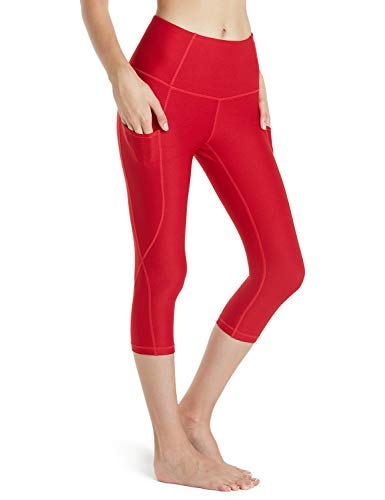 TSLA Yoga 17 Inches Capri Mid-Waist Pants w Hidden Pocket, Pocket Thick Contour(fyc24) - Red, Medium (Size 8-10_Hip39-41 Inch). ()