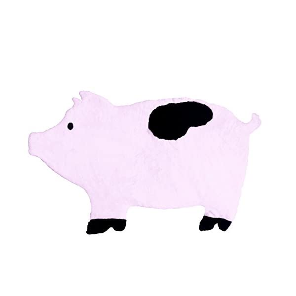 Pig Nursery Rug, Play Mat, Blanket or Bed Cover in Plush Faux Fur with Non-Slip Suede Backing