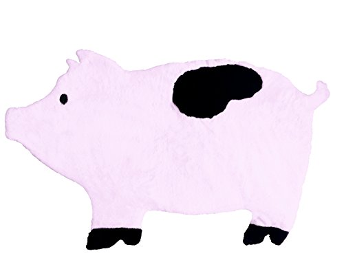 Pig Nursery Rug, Play Mat, Blanket or Bed Cover in Plush Faux Fur with Non-Slip Suede Backing (Rug Pig Playful)