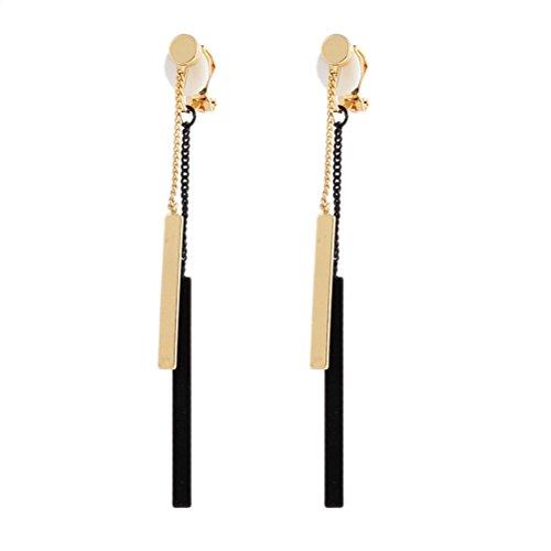 Clip on Earring Back with Pads Rectangle Dangle Tassel Ear Black for Girl Kid no ()