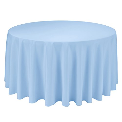 Remedios 120-inch Round Polyester Tablecloth - for Wedding, Restaurant, or Banquet use, Baby Blue
