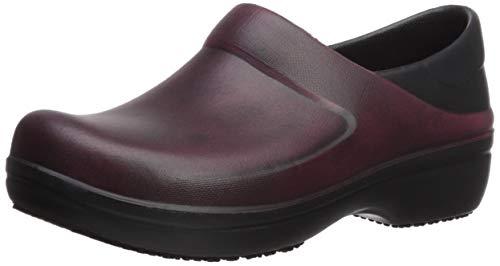(Crocs Women's Neria Pro II Distressed Clog Shoe, garnet/black, 11 M US)
