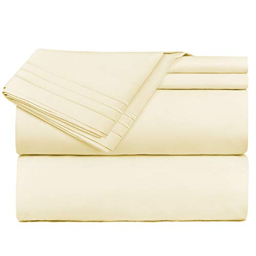 Nestl Bedding Bed Sheet Bedding Set, Queen, Vanilla/Yellow Cream, 100% Soft Brushed Microfiber Fabric Deep Pocket Fitted Sheet, 1800 Luxury Bedding Collection, Wrinkle Free Bedroom Linen Set ()