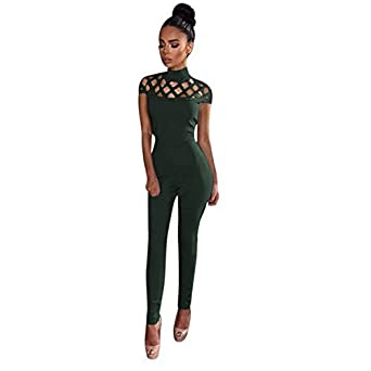 d66b91cd1c9b Live It Style It Women s Choker High Neck Caged Sleeve Playsuit Ladies  Jumpsuit Romper Size 6 8 10 12 14  Amazon.co.uk  Clothing