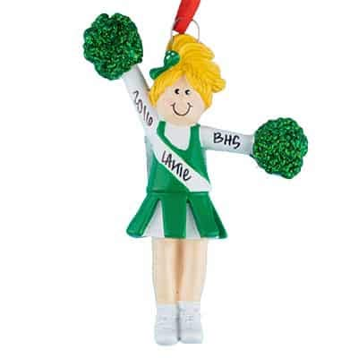 (Cheerleader Green Uniform - Blonde Hair - (Unique Christmas Tree Ornament - Classic Decor for A Holiday Party - Custom Decorations for Family Kids Baby Military Sports Or Pets))