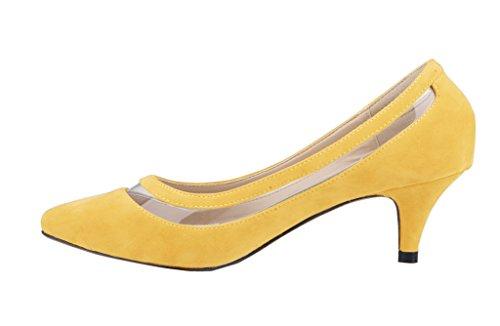 On PU Patent Kitten Shoes Sexy Pumps Women's Slip Pointed Heels Elegant Toe Dress Yellow 6XBOwB