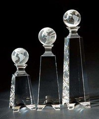 Crystal Globe Monument Tower Crystal Award - Large ()