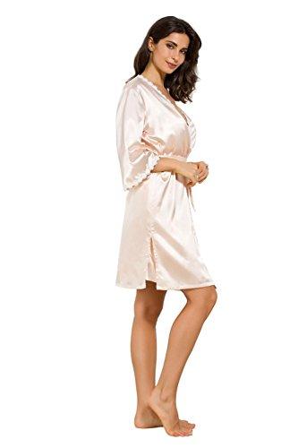 con di seta Pakamo da pezzi pigiami champagne notte notte di notte Camicia donna da pigiameria Camicie da sexy da donna Due da Camicia floreale Set qq6ntT