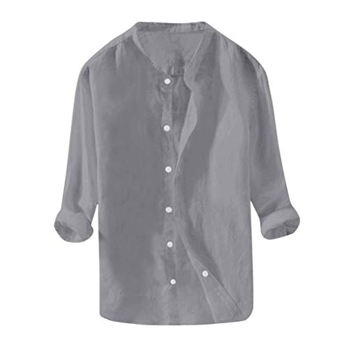 MIS1950s Shirts for Men Breathable Cotton Linen Long Sleeve Button Down T Shirt Blouse Mens Comfy Solid Color Tunic Tops (Tank Mens Top Eastbay)
