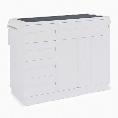 "Home Styles 8000-94 Linear Modern Kitchen Island W-49 ½"", D-34"", H-36 ¼"" High Gloss White"