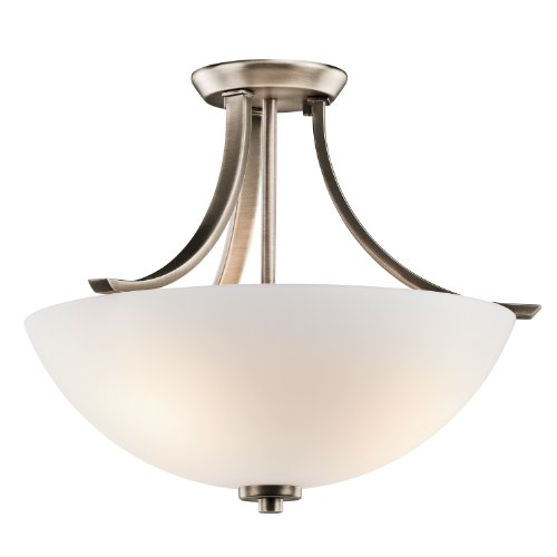 Kichler Lighting 42563BPTFL Granby 3-Light CFL Semi-Flush with Satin Etched White Glass, Brushed Pewter Finish