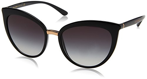 Dolce & Gabbana Women's Essential Cat Eye Sunglasses, Black/Grey, One - Designer Dolce Gabbana Sunglasses