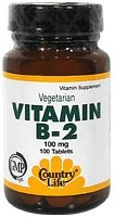 Country Life vitamine B-2 100 Mg, 100-Comte