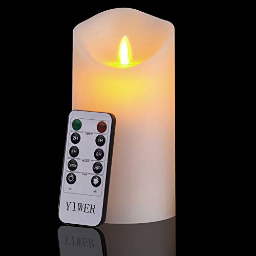 YIWER Flameless Candles, 6 Set of 1 Real Wax Not Plastic Pillars, Include Realistic Dancing LED Flames and 10-Key Remote Control with 2/4/6/8-hours Timer Function, 300+ Hours (1, Ivory) (1)