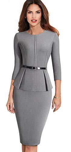 Merope J Womens Peplum Belted 3/4 Sleeves Wear to Work Office Ladys Dress(L,Gray) -