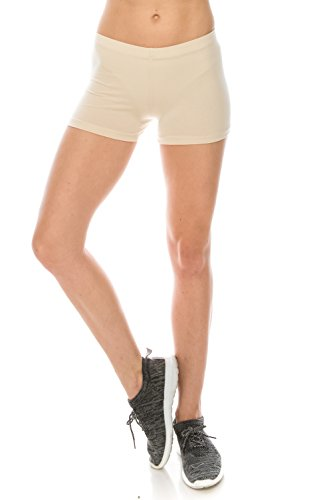 (The Classic Women's Stretch Cotton Activewear Dance Yoga Booty Shorts Pants S to 3XL (Large, Nude))