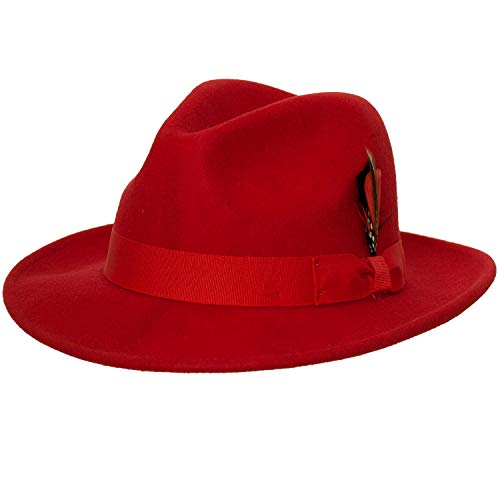 9th Street Reverb Classic Felt Fedora 100% Wool (XLarge (fits 7 1/2 to 7 5/8), Red)