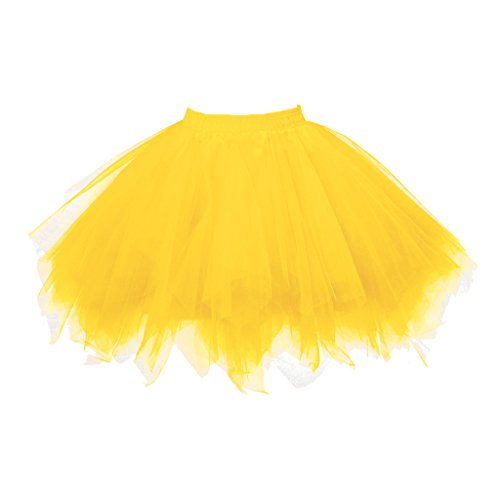 Topdress Women's 1950s Vintage Tutu Petticoat Ballet Bubble Skirt (26 Colors) Gold S/M]()