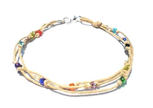 Hempnotic Jewelry Multicolor Glass Beaded Three String Hemp Anklet - Handmade