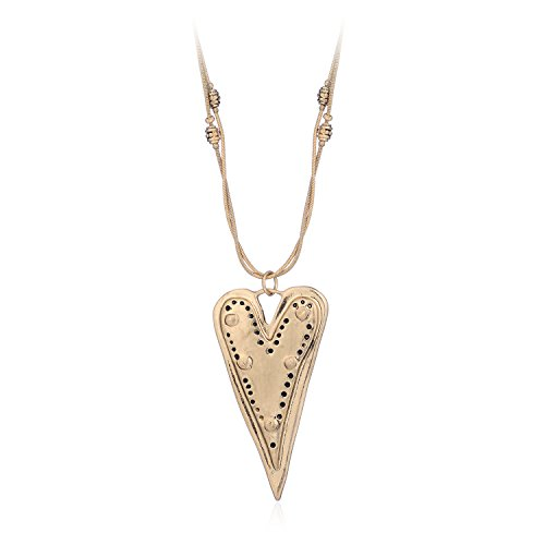 Exquisite Heart Shape Plated Gold Pendant Double Long Sweater Chain Necklace for Women Girl By (Exquisite Heart)