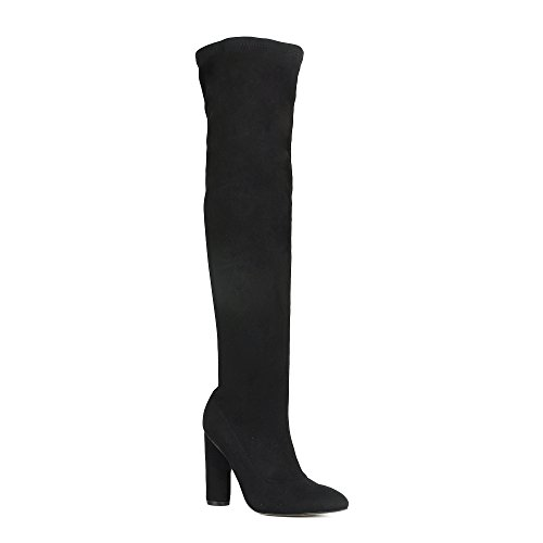 Stretch Suede Knee Boot (Women's Over The Knee Boots Chunky Block Heel Thigh High Boots Fashion Dress Boots Black 8)