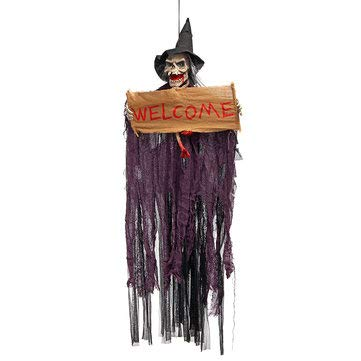 Scary Welcome Sign Hanging Halloween Animated Ornament Decoration Burlap Banner - 1PCs