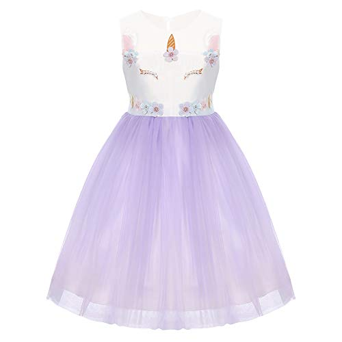 (Baby Girls Flower Unicorn Mythical Costume Halloween Cosplay Princess Dress up Birthday Pageant Party Dance Outfits Evening Gowns Purple Pearl Flower Dress 2-3)