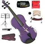 Merano 14'' Purple Viola with Case and Bow+Extra Set of Strings, Extra Bridge, Shoulder Rest, Rosin, Metro Tuner, Black Music Stand, Mute
