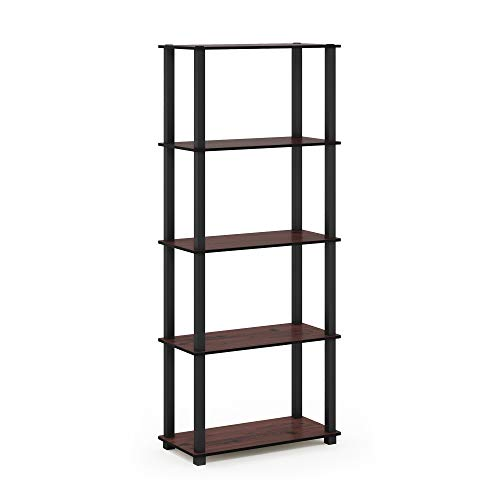 (Furinno 18123DC/BK Turn-S 5-Tier Multipurpose Display Rack with Square Tubes, Dark Cherry/Black)