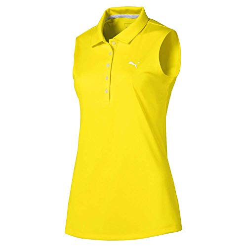 Puma Golf Women's 2020 Pounce Sleeveless Polo, Blazing Yellow, Medium