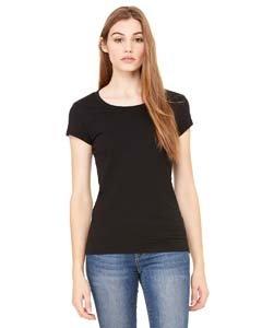Ladies Sheer Rib Cap (Ladies' Sheer Rib Short Sleeve Longer Length Tee Shirt, Color: Black, Size: Medium)