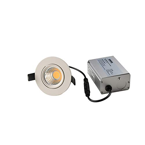 OBSESS 3-Inch IP54 Waterproof Shower Light with 8W COB LED Downlight, Damp Location Use, Shower Room Light, Shower Room Downlights Ceiling Light, White, Aluminium, Dimmable, Neutral White 4000K by OBSESS