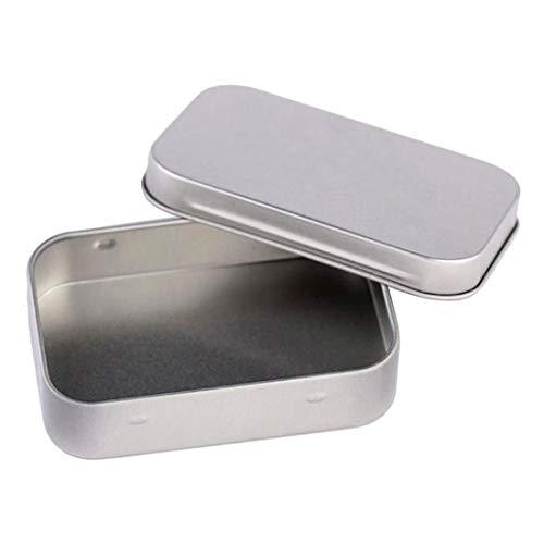 Lhoste 6pcs Small Metal Storage Box Tin Silver Storage Box Case Organizer for Money Coin Candy Key Silver