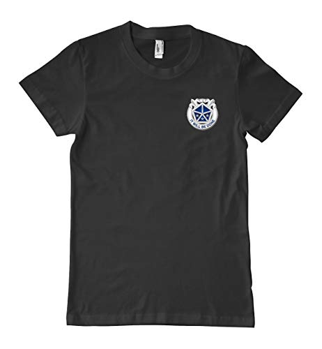 US Army 5th U.S. Army Corps Unit Crest Military T-Shirt 100% Cotton Black